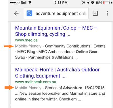 mobile friendly website google search example