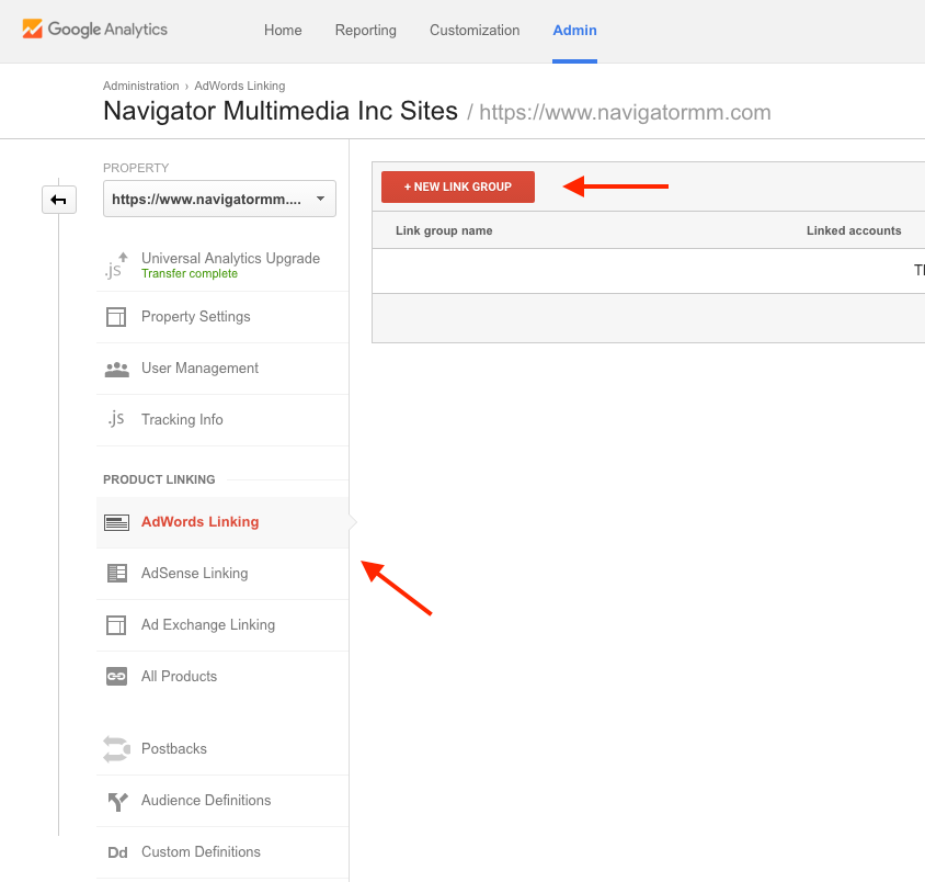 AdWords and Analytics linking