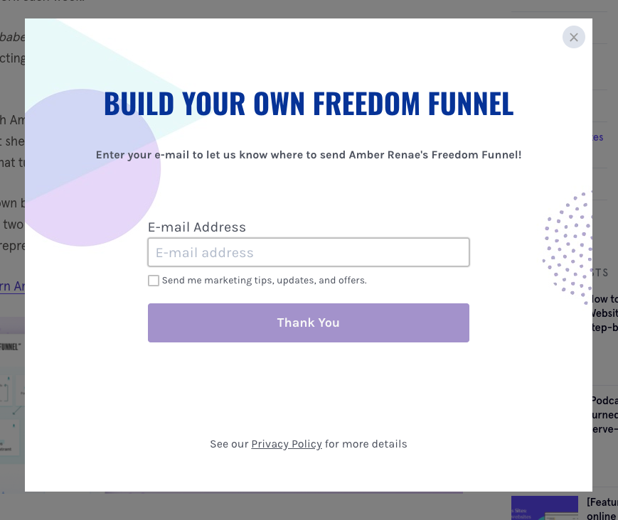 pop up asking user to fill in email address to receive freedom funnel