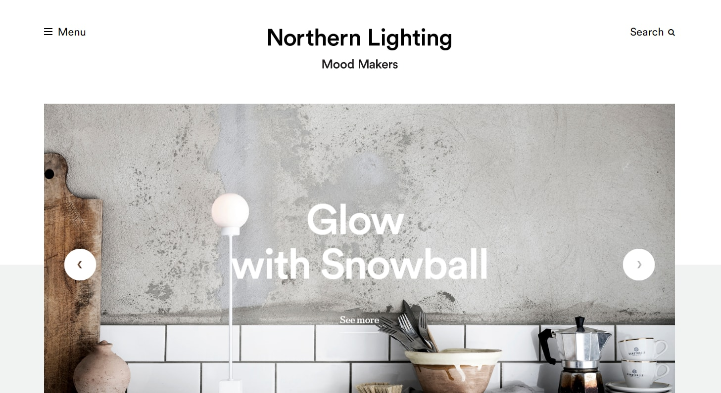 northern lighting minimal web design with photography