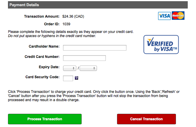 An example of a Verified by Visa security icon on the Royal Tyrrel Museum store check-out.