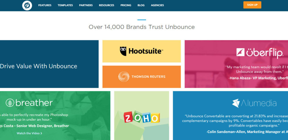 social proof example by unbounce