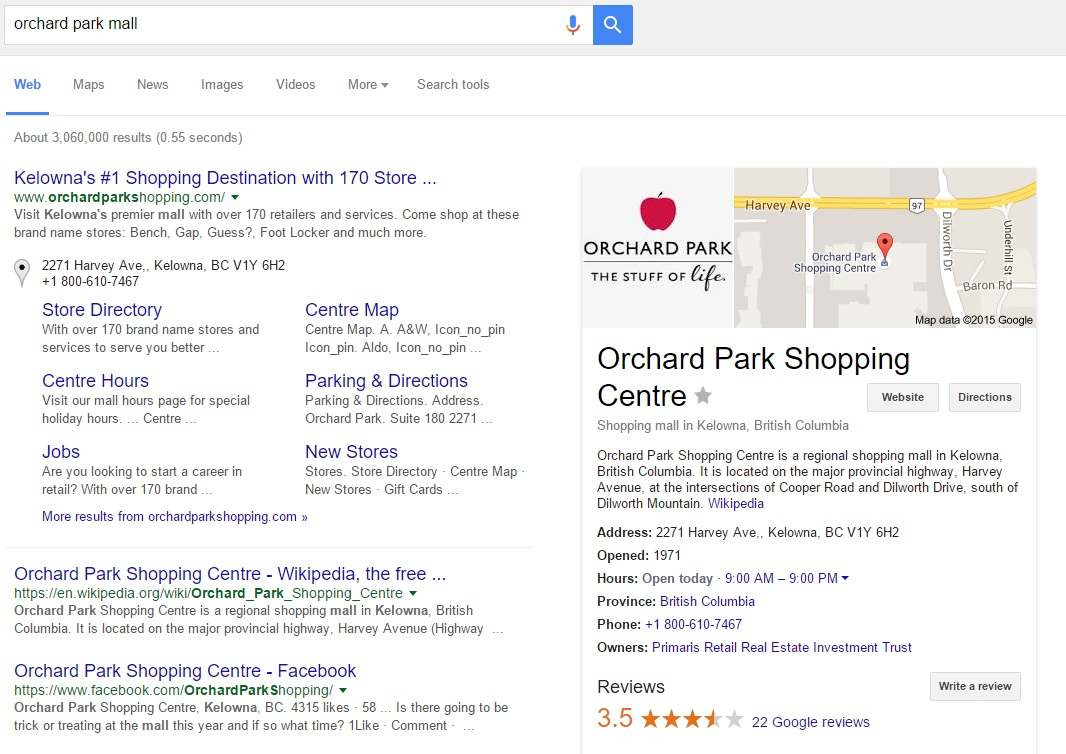 Information you've updated on Google My Business appears prominently next to results when users search for your business.