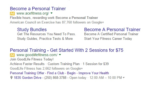 These two ads have solid copy and use extensions. Extensions (all the information added below first three lines) add credibility, attach information such as phone numbers and store locations, and are far more likely to catch a person's eye. They are configured by you and added automatically by Google to increase the likelihood of a click.