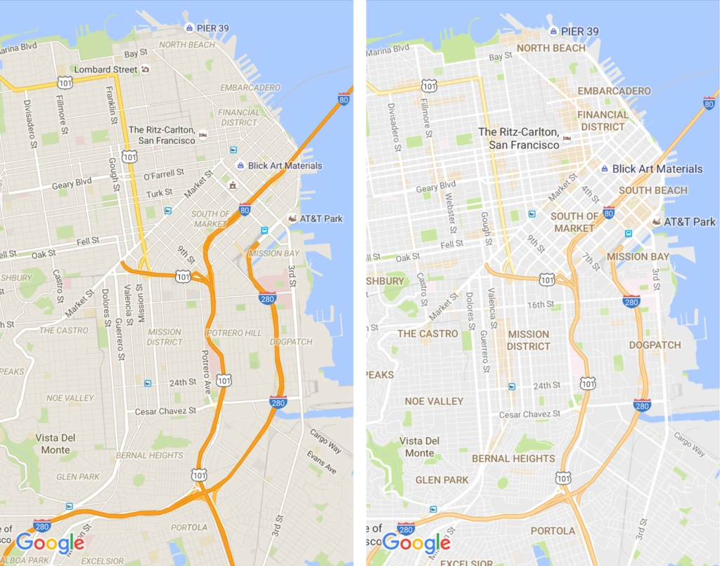 Google Maps Before After July 2016