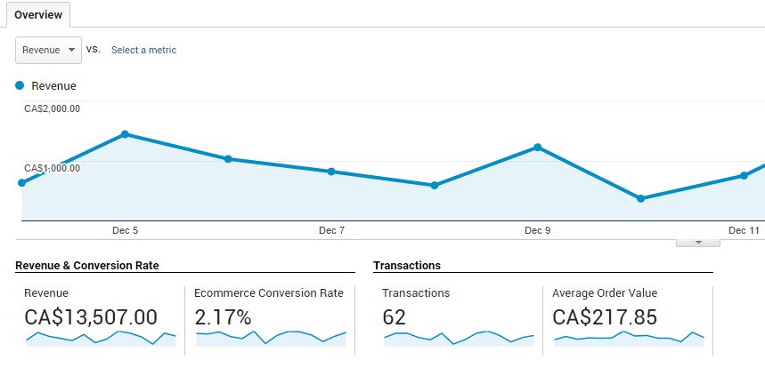 Google analytics ecommerce tracking example