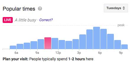 google my business popular times
