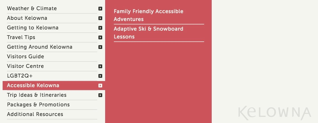 Photo of accessibility webpage selected from the menu on Tourism Kelowna Website.