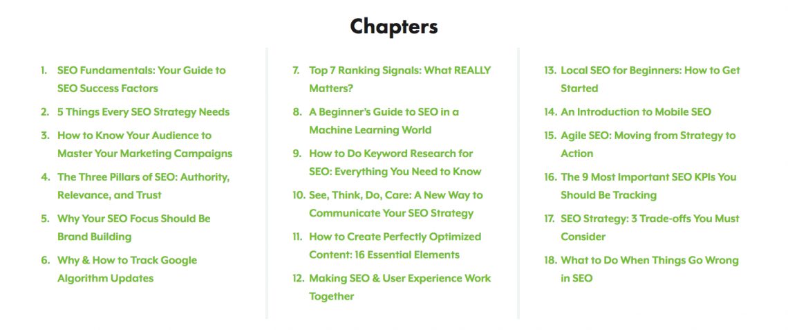 list of SEO guide chapters